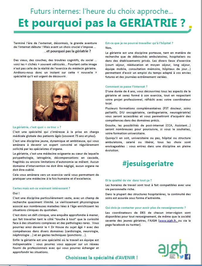Et pourquoi pas la geriatrie ?